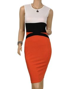 Red and White Midi Bodycon Dress