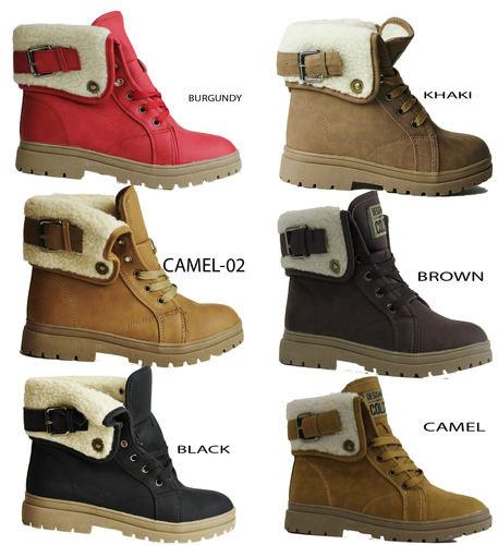 0b9d7e549ad LADIES WOMENS GIRLS FUR LINED WINTER ANKLE GRIP SOLE BOOTS TRAINERS ...