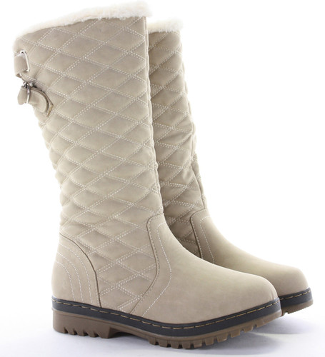 WOMENS LADIES FLAT KNEE HIGH CALF QUILTED FUR LINED GIRLS WINTER ...