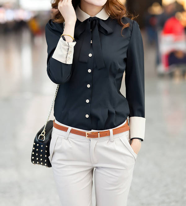 Single Breasted Stitching Cuffs Cotton Color Matching Formal Blouse