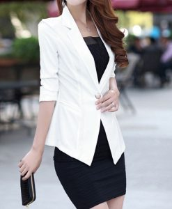 Ladies Womens 3 4 Lace Sleeve Slim Fit Candy Color Blazer Suit Jacket Outwear  _2015-02-03_17-03-59