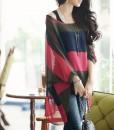 Women Batwing Casual Loose Colorful Stripes Chiffon 2pcs Vest Top Shirt Blouse _2014-08-29_22-47-13