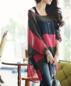 Women Batwing Casual Loose Colorful Stripes Chiffon 2pcs Vest Top Shirt Blouse _2014-08-29_22-47-13