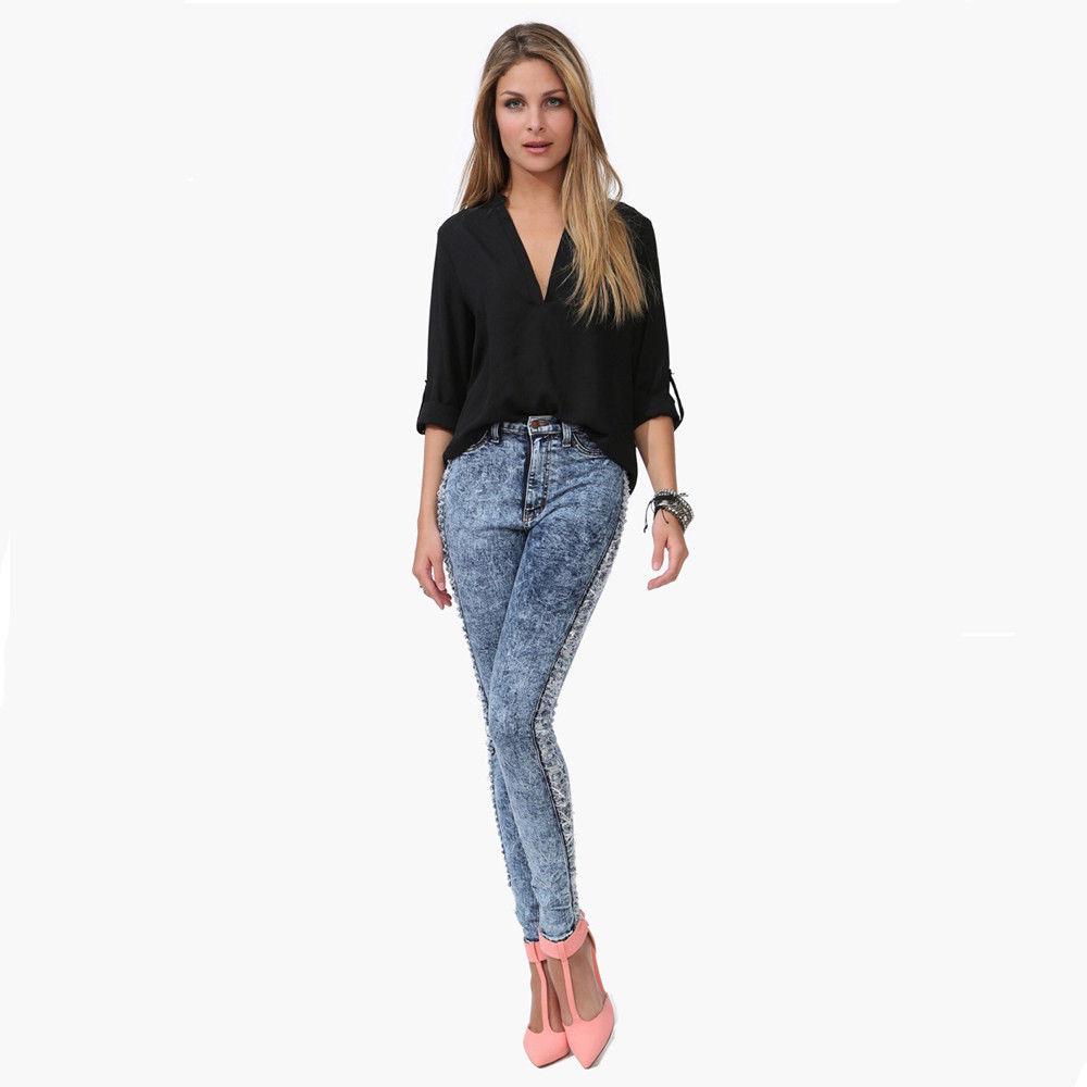 Blues V Neck Solid Color Long Sleeve Blouse The Style Basket