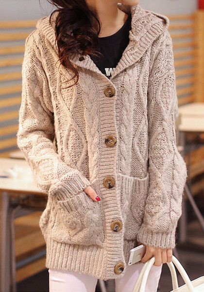 Cable Knit Hooded Cardigan The Style Basket
