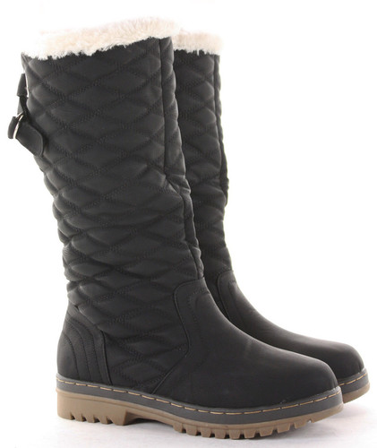 64d320bc81f WOMENS LADIES FLAT KNEE HIGH CALF QUILTED FUR LINED GIRLS WINTER ...